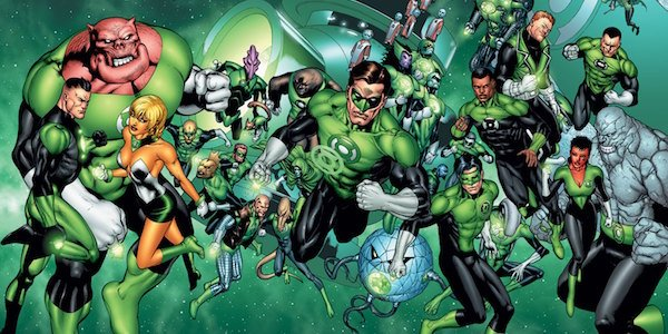 Various members of the comic book Green Lantern Corps assembled