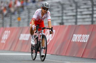 OYAMA JAPAN JULY 24 Michal Kwiatkowski of Team Canada on arrival during the Mens road race at the Fuji International Speedway on day one of the Tokyo 2020 Olympic Games on July 24 2021 in Oyama Shizuoka Japan Photo by Tim de WaeleGetty Images