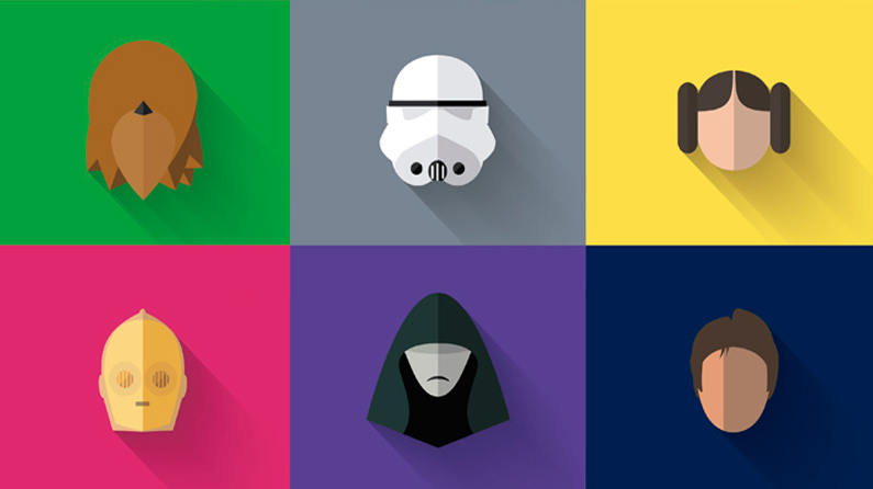 Free flat design Star Wars icons to download today