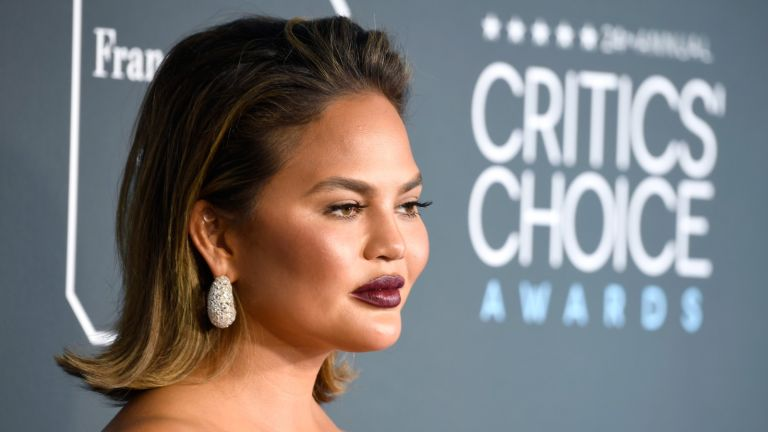 SANTA MONICA, CA - JANUARY 13: Chrissy Teigen attends the 24th annual Critics' Choice Awards at Barker Hangar on January 13, 2019 in Santa Monica, California. (Photo by )
