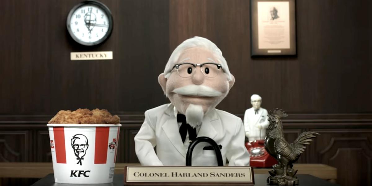 colonel sanders puppet kfc ad