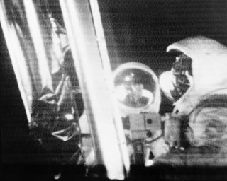 A photograph of Neil Armstrong and Buzz Aldrin on the moon produced from the live telecast made during the moonwalk on July 20, 1969.