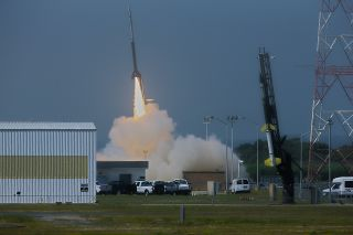 A NASA Black Brant V sounding rocket launches from the agency's Wallops Flight Facility on Wallops Island, Va., at 10:31:25 a.m. ET on July 4, 2013.