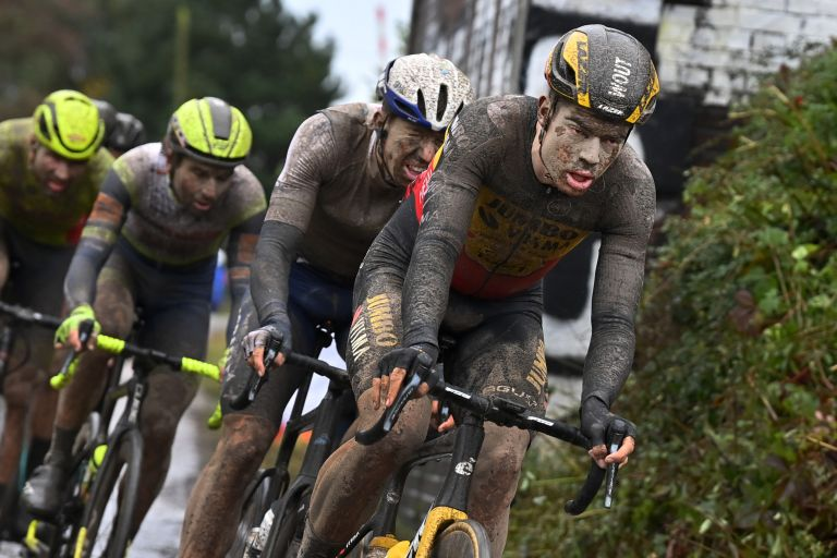 Wout van Aert leading chase group at 2021 Paris-Roubaix