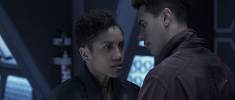 """Dominique Tipper as Naomi and Jasai Chase Owens as Filip in Episode 7 of Season 5 of """"The Expanse"""" on Amazon Prime Video."""