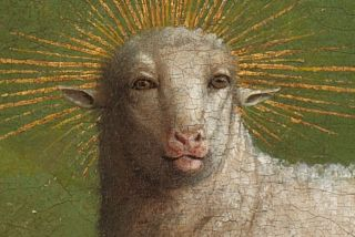 The restored lamb gazes into your soul.