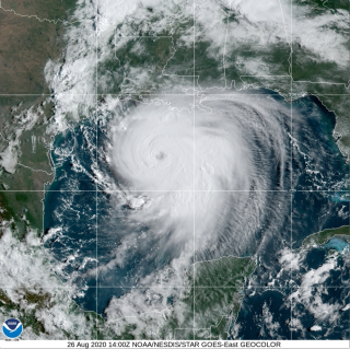 Satellite image shows Hurricane Laura swirling over the Gulf of Mexico on Aug.26 at 10 a.m. ET