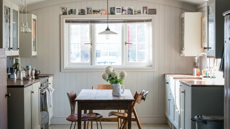 Purbeck Stone by Farrow & Ball on the walls of a kitchen