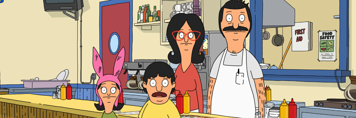 Bob's Burgers the Belchers look at the camera shocked