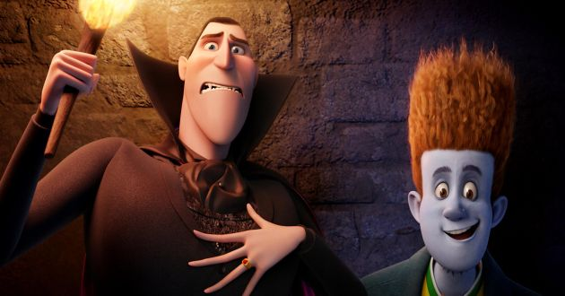 Dracula (voiced by Adam Sandler) and Johnnystein (voiced by Andy Samberg) in HOTEL TRANSYLVANIA, an animated comedy from Sony Pictures Animation.