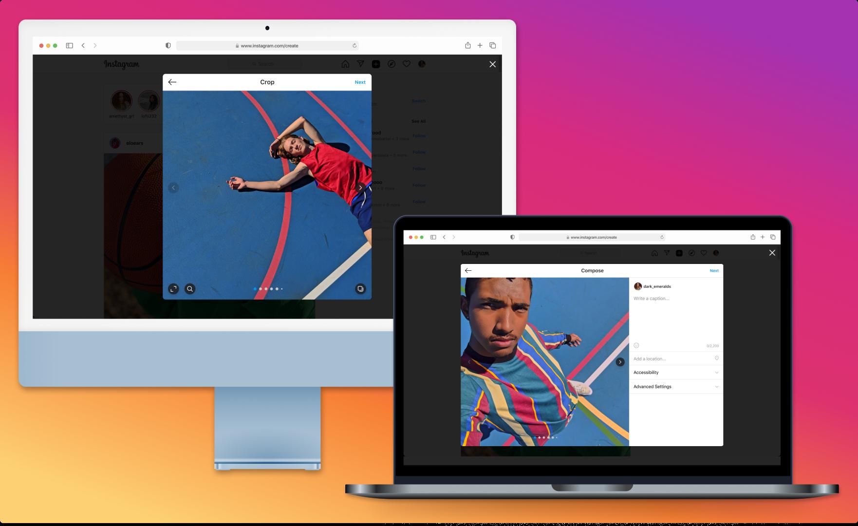 Instagram Desktop creation on the web