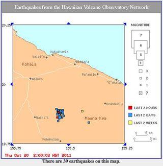 Earthquakes in Hawaii on October 19-20, 2011. Credit: USGS/Hawaii Volcano Observatory