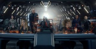 "The new crew of ""Star Trek: Picard."" Just the right number of seats, phew. Set course for Season two."