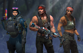 Three of the agents from CS:GO's Operation Riptide pose with their guns menacingly.