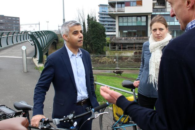 Mayor of London Labour candidate Sadiq Khan discusses cycling