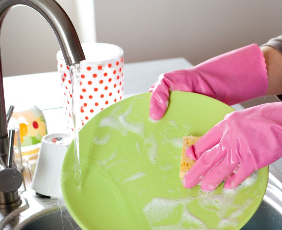 dishes being cleaned
