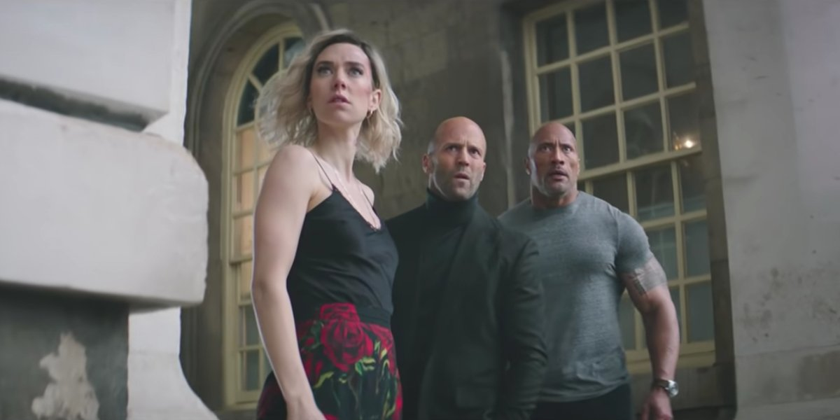 "Hattie Shaw (Vanessa Kirby), Deckard Shaw (Jason Statham), and Luke Hobbs (Dwayne ""The Rock"" Johnson"