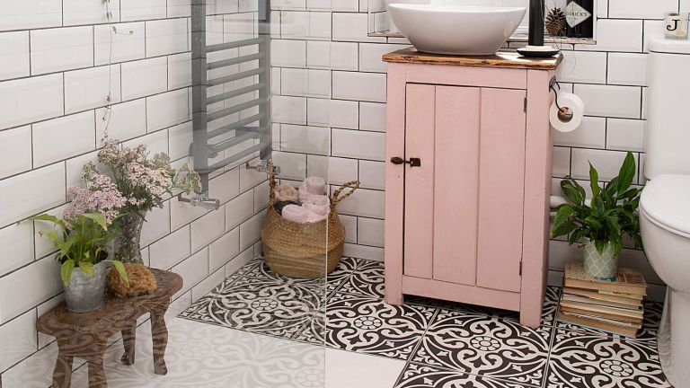 Bathroom with tile sticker flooring