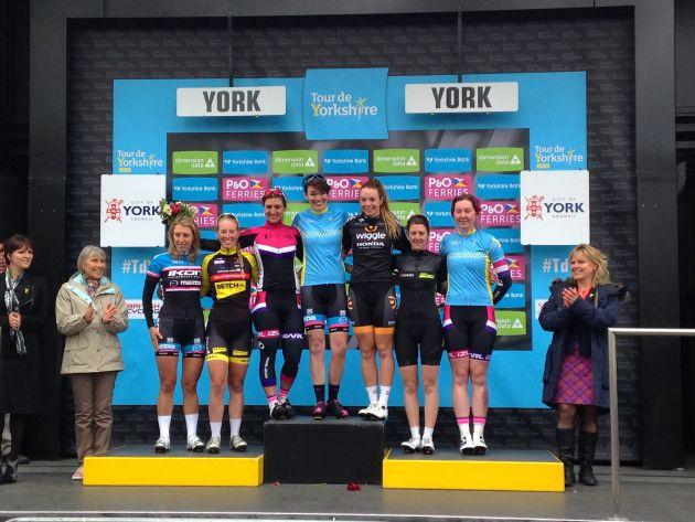 2015 Tour de Yorkshire women's race podium