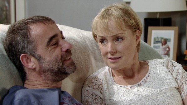 Coronation Street's Sally Webster, played by Sally Dynevor, gets close to ex Kevin, played by Michael Le Vell
