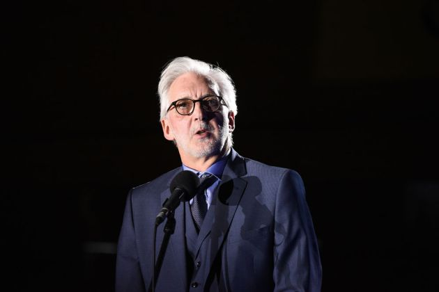 UCI president Brian Cookson gives an address at the opening ceremony.