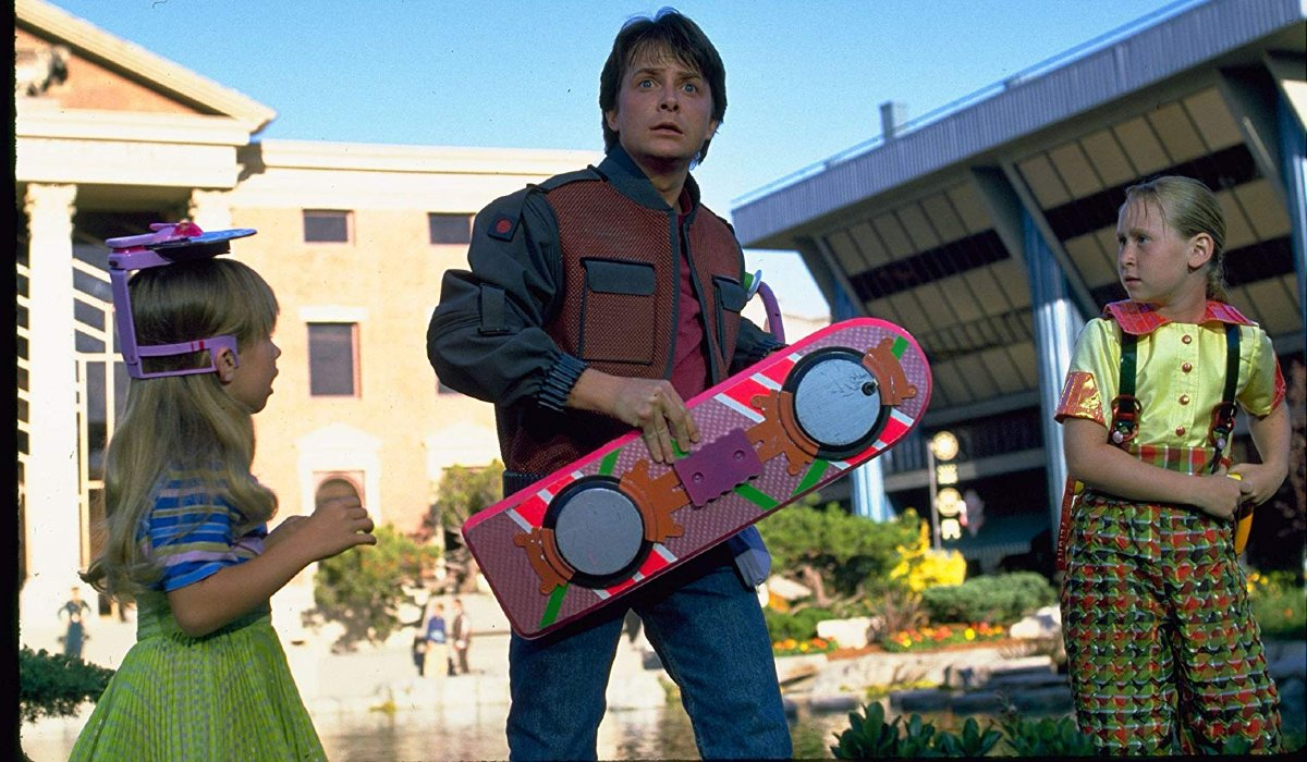 Back To The Future Part II Michael J. Fox holding a hoverboard