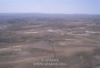 "Using aerial photography, archaeologists in Jordan have mapped a ruined wall known today as the ""Khatt Shebib."""