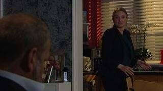 Jimmy King and Nicola King argue in Emmerdale.