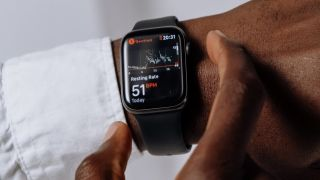 Apple watch displaying heart resting rate