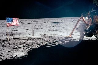 Photo of Neil Armstrong on the Moon.