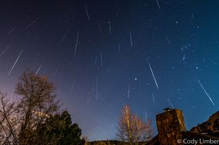 The Geminid meteor shower peaks the week of Dec. 9, 2015. Astrophotographer Cody Limber took this composite image during the Geminid meteor shower on Dec. 14, 2013.