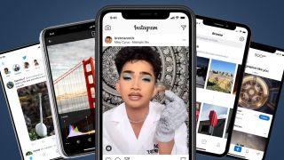 Several phones showing screens of Instagram alternatives