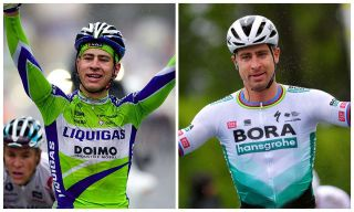 Peter Sagan winning stage 1 in the 2010 and 2021 Tour de Romandie