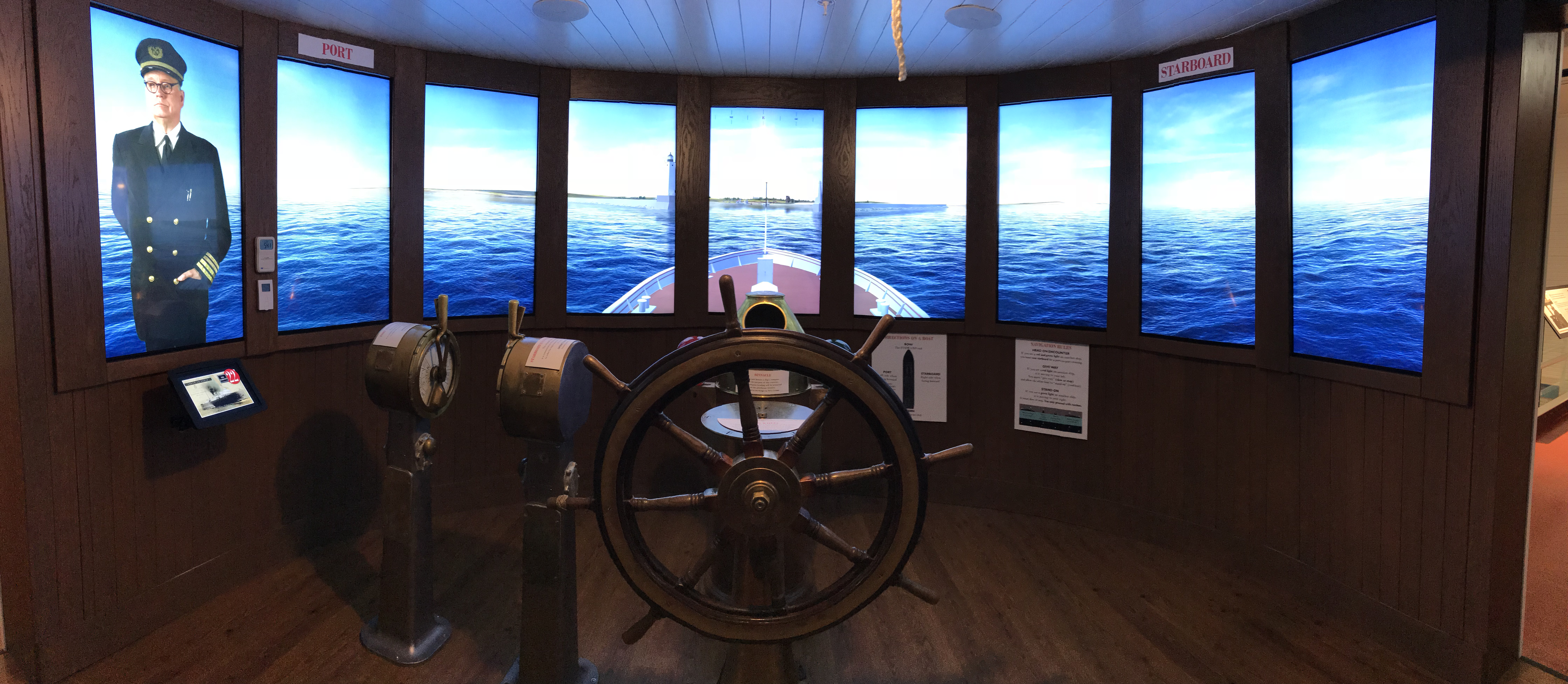 Through an exciting interactive experience, Bluewater helps transport museumgoers at the Port of Ludington Maritime Museum to the pilot house of the Pere Marquette 22 car ferry in the 1930s.