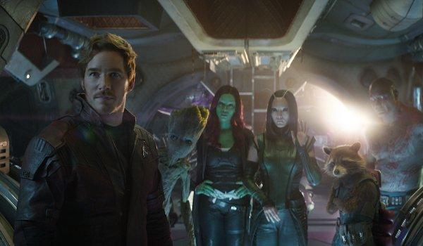 Avengers: Infinity War Chris Pratt Zoe Saldana Pom Klementiff Dave Bautista Guardians on the bridge