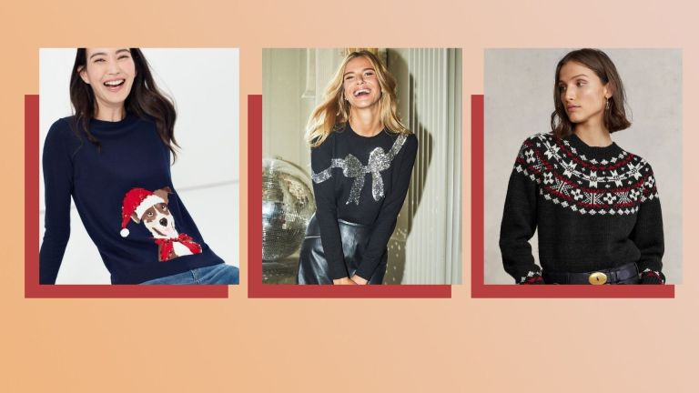 A composite image of three of the best Christmas jumpers for 2021, worn by women in square pictures side by side