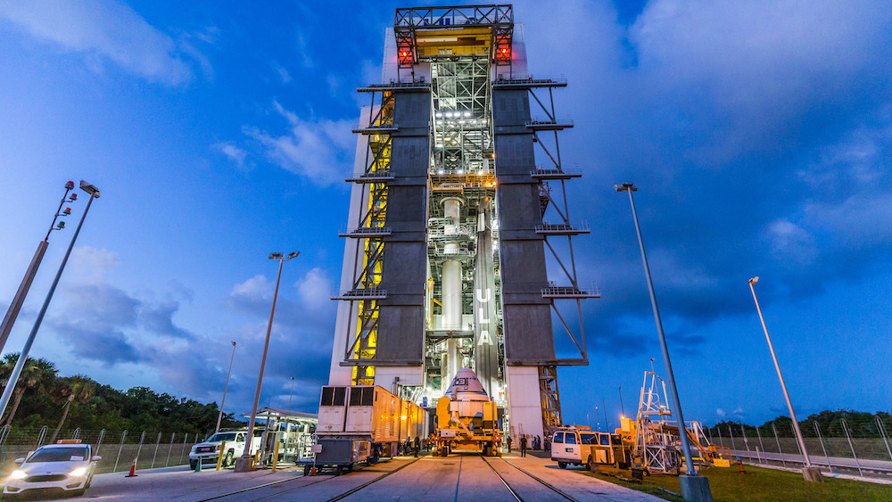 A United Launch Alliance (ULA) Atlas V rocket stands ready to receive its precious cargo — Boeing's Starliner for the OFT-2 mission — at the Vertical Integration Facility (VIF) at Space Launch Complex-41 at Cape Canaveral Space Force Station in Florida, on July 17, 2021.