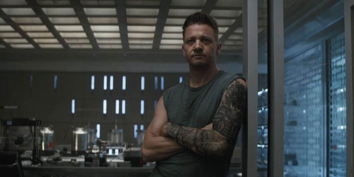 Hawkeye hearing out Tony Stark's plan about getting to Thanos in Avengers: Endgame
