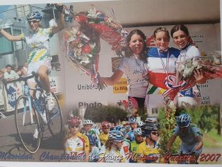 Pauline Ferrand-Prévot on the podium at the French Championships