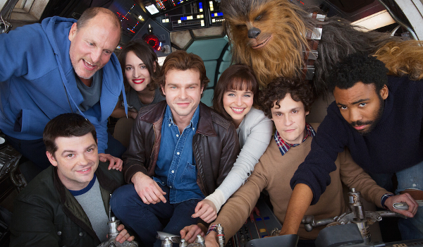 Solo: A Star Wars Story cast and crew in a crowded cockpit