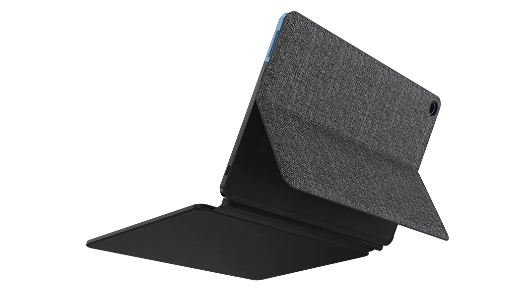 The Lenovo IdeaPad Duet Chromebook from the back with its stand sticking out against a white background