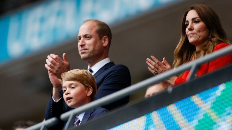 Prince George, Prince William, Duke of Cambridge and Catherine, Duchess of Cambridge, celebrate the win in the UEFA EURO 2020 round of 16 football match between England and Germany