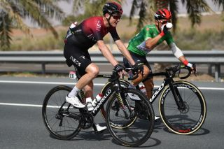 Chris Froome (Team Ineos) chats with points-jersey-wearer Caleb Ewan (Lotto Soudal) during stage 5 of the 2020 UAE Tour