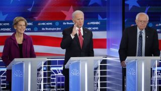 Democratic Presidential Candidates Participate In Debate In Atlanta, Georgia ATLANTA, GEORGIA - NOVEMBER 20: Democratic presidential candidates (L-R) Sen. Amy Klobuchar (D-MN), South Bend, Indiana Mayor Pete Buttigieg, Sen. Elizabeth Warren (D-MA), former Vice President Joe Biden, and Sen. Bernie Sanders (I-VT), arrive on stage before the start of the Democratic Presidential Debate at Tyler Perry Studios November 20, 2019 in Atlanta, Georgia. Ten Democratic presidential hopefuls qualified from the larger field of candidates to participate in the debate hosted by MSNBC and The Washington Post.
