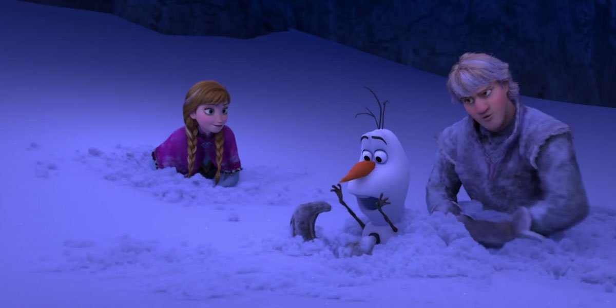 Frozen characters buried in snow.