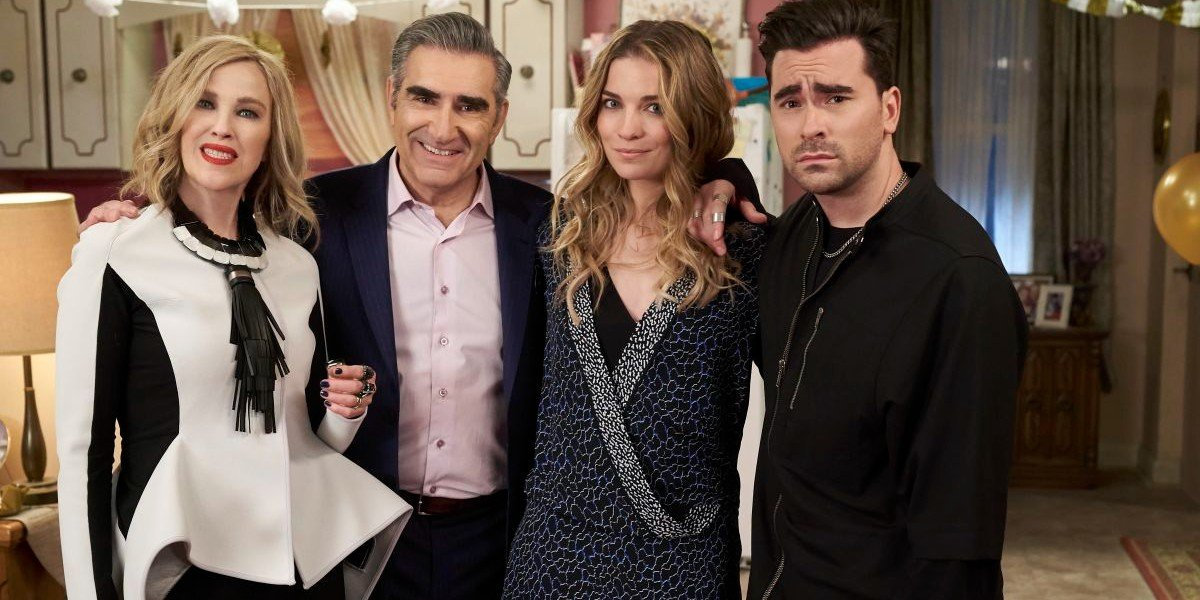 Daniel Levy, Eugene Levy, Annie Murphy, and Catherine O'Hara in Schitt's Creek