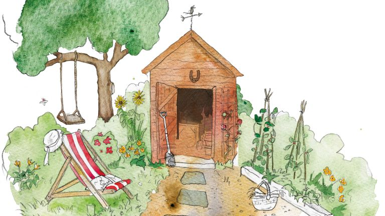 garden illustration of shed