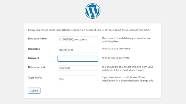 Assistant d'installation de WordPress