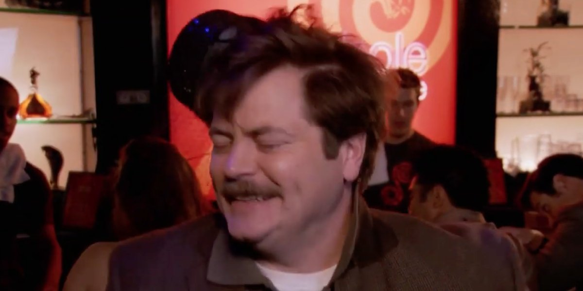 Nick Offerman as a dancing Ron Swanson on Parks and Recreation