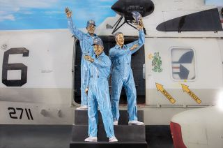 The new Apollo 13 statue at Space Center Houston stands in honor of both the astronauts and the team in Mission Control, who worked to ensure the crew's safe return.